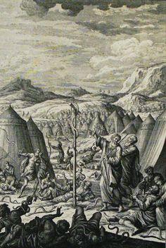 The Phillip Medhurst Picture Torah 568. The Israelites bitten by fiery serpents. Numbers cap 21 vv 6-9. Heuman