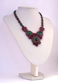 soutache necklace with crystal swarovski