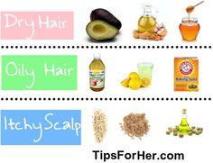 DIY Hair Masks for itchy scalp, dry and oily hair.