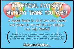 Facebook Birthday Thank You 4x6 100 Ppi Quotes