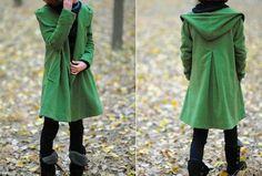 hierba verde abrigo con capucha de lana del cabo por MaLieb en Etsy