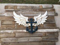 Wings & Anchor wood wall decor by NEVERMOREcreation on Etsy