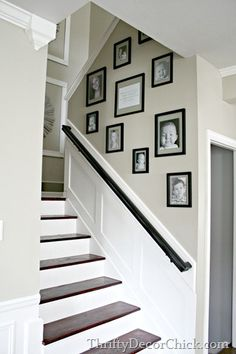 Top Cool Ideas: Floor To Ceiling Wainscoting Dining Room wainscoting blue floors.Picture Frame Wainscoting Home wainscoting styles spaces.Wainscoting Foyer Home. Stairway Wainscoting, Stairway Walls, Black Wainscoting, Staircase Molding, Stairwell Wall, Wainscoting Nursery, Wainscoting Kitchen, Painted Wainscoting, Wainscoting Ideas