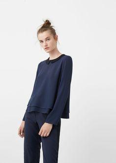 Contrast neck blouse | MANGO