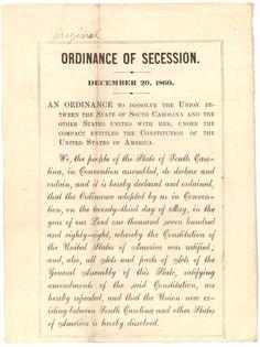 "South Carolina handbill of the ""Ordinance of Secession."""