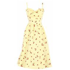 Stop Staring! Juliet Swing Dress w/ Yellow White Gingham Cherry Print ❤ liked on Polyvore featuring dresses, stop staring!, yellow gingham dress, gingham dress, trapeze dress and yellow dress