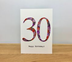 Handmade Birthday Card ~ ANY NUMBER ~ Personalised Number Birthday Card by StickandPasteCards on Etsy Personalized Birthday Cards, Handmade Birthday Cards, Kimono Pattern, Color Card, Paper Decorations, Paper Cutting, I Card, Card Making, Happy Birthday