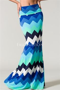 Blue Color Block Chevron Print Maxi Skirt