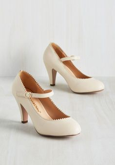 Romantic Revival Mary Jane Heel in Creme - Cream, Solid, Scallops, Wedding, Work, Daytime Party, Bridesmaid, Wedding Guest, Pinup, Vintage Inspired, 50s, Minimal, Darling, Summer, Good, Mary Jane, Variation, White, Neutral, Mid, Faux Leather, Best Seller, Best Seller