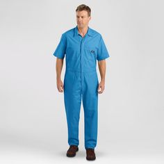 Dickies Men's Big & Tall Short Sleeve Coverall- Medium Blue Xxl Tall