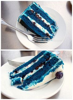 Recreating this for Shaunas bday. Blue Velvet Cake from MILK Los Angeles Yummy Drinks, Delicious Desserts, Yummy Food, Blue Velvet Cakes, No Bake Treats, Homemade Cakes, Holiday Desserts, Cupcake Cakes, Cupcakes
