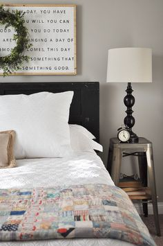 farmhouse guest bedroom small bedside