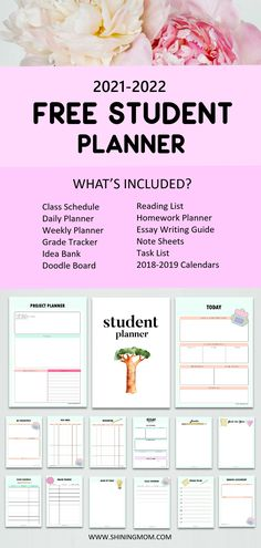 This free student planner is an excellent tool for back-to-school. Boost your learning and productivity with this brilliant planner! #student #stydentplanner #schoolprintables #school #freeplanner Homework Planner Printable, Day Planner Template, Free Planner, Planner Ideas, Student Teacher Binder, Teacher Planner, College Planner, School Planner, Student Calendar
