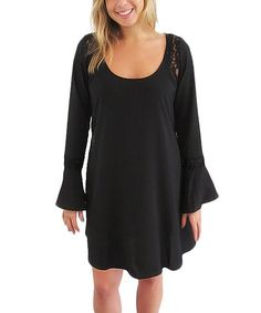 Look at this #zulilyfind! Black Lace Inset Dress by S.H.E. – Soul Harmony Energy #zulilyfinds