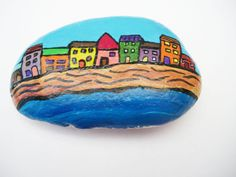 Hand painted stone Seaside Houses  Stone Pebble Paperweight on Etsy, $12.99 CAD