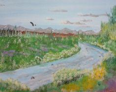 """Mountain river"" 20 x 16 acrylics on canvas panel."