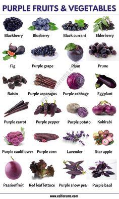 Fruits And Vegetables Names, Purple Vegetables, List Of Vegetables, Different Vegetables, Veggies, Prune Fruit, Purple Potatoes, Purple Food, Food Charts