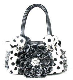Polka Dot Black Flower Rhinestone Purse - Handbags, Bling & More!