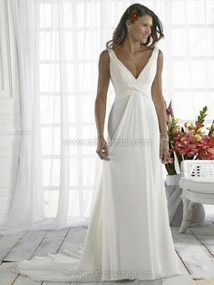 Sheath/Column V-neck Chiffon Sweep Train Ruffles Wedding Dresses