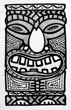 Could have students color one each and use it to boarder a wall Maori Symbols, Tiki Hawaii, Tiki Tattoo, Tiki Head, Luau Decorations, Posca Art, Tiki Mask, Pattern Coloring Pages, Hawaiian Tattoo