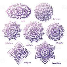 Ensemble de sept chakras cliparts vectoriels libres de droits
