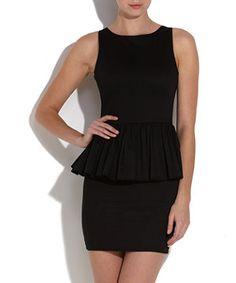 1084a1595301 Black (Black) Paprika Black Frilled Peplum Dress   256225401   New Look  Passform Flare