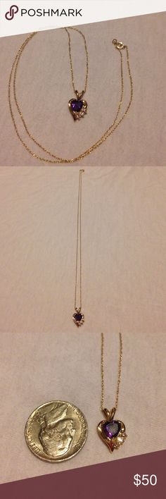 """Solid 10k amethyst necklace Beautiful solid 10k amethyst necklace. About 18"""" long. Jewelry Necklaces"""