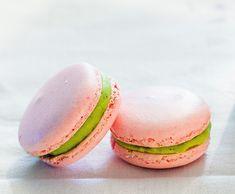 Raspberry Macaron with green tea ganache