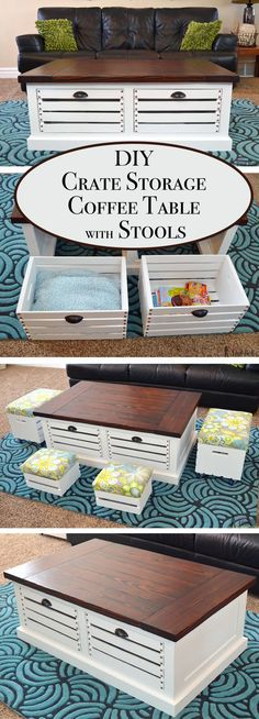 Crate Storage Coffee Table with Stools