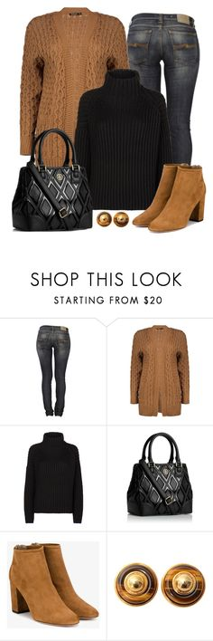 """Untitled #1540"" by gallant81 ❤ liked on Polyvore featuring Nudie Jeans Co., Boohoo, Victoria, Victoria Beckham, Tory Burch and Aquazzura"