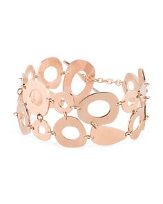 Made In Italy Rose Gold Plated Bronze Geometric Link Bracelet