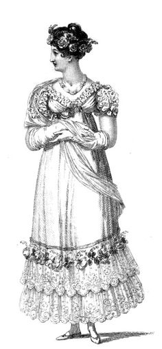 """Evening gown 1816 """"A white British net dress over a white sarsnet slip; the dress is trimmed round the bottom with a deep double flounce of lace, surmounted by a wreath of roses, immediately above which is a rollia of white satin. This trimming is uncommonly tasteful and striking. The body and sleeves are of the same material as the dress; the former is full, and cut in a very novel style: a quilling of blond lace goes round the bosom, which comes high at the sides, but is sloped very much…"""