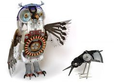 Ann P. Smith  This awesome owl and bird sculpture was made from reclaimed electronic trash. It reminds me of the mechanical owl in The Clash of the Titans.
