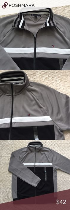 Tommy Hilfiger men's jacket Tommy Hilfiger men's classic full zip up jacket , brand new with SZ tags , great for fall , brand new , men's SZ large in multi color grey/ black white Tommy Hilfiger Jackets & Coats