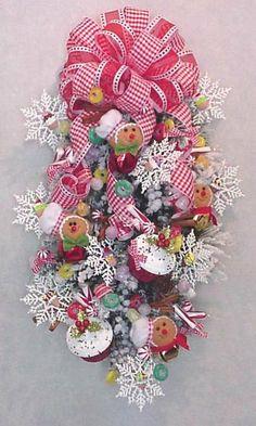 Gingerbread Bakers Christmas jingle bells cupcakes gumdrops peppermint candy door decoration