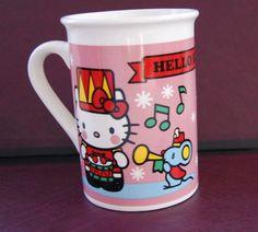 Hello Kitty drummer COFFEE MUG tea cup 2013 Sanrio drum mouse snow presents