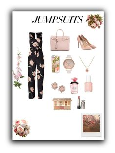 """""""Untitled #136"""" by hannahknox18 ❤ liked on Polyvore featuring Jimmy Choo, Yves Saint Laurent, Casetify, Olivia Burton, Impossible Project, Dolce&Gabbana, Essie, Sephora Collection and jumpsuits"""