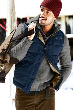 Layering with sweater, vest, shirt and jacket makes a great deal of sense are this time of yeah, not to mention looking very fashion forward.