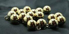 Gold plated ball buttons with wire loop shank by ButtonsNDesigns