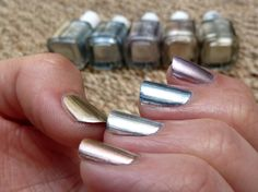 Skittle nails with Essie Mirror Metallics