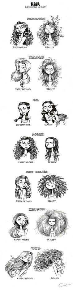 7 Hair Expectations Vs Reality Scenarios… lol this made me laugh, cuz its so true! Curly Hair Styles, Natural Hair Styles, Natural Curls, Natural Skin, Curly Hair Problems, Straight Hair Problems, Expectation Vs Reality, Complicated Relationship, Real Facts
