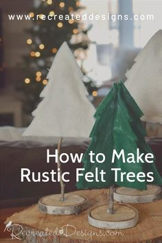 Make your own little felt trees and add a rustic touch to your decor that can stay up long past the holidays. With these step-by-step you can make two types of trees out of felt and twigs. Find all of the directions and a pattern to use over on the Recreated Designs blog. Christmas Craft Projects, Diy Craft Projects, Christmas Decorations, Rustic Christmas, Christmas Holidays, Felt Tree, Tree Patterns, Trees, Touch