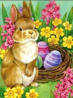 Jane Maday — Springtime Rabbit Easter Two-Sided Garden Easter Art, Easter Crafts, Easter Bunny, Easter Eggs, Easter Illustration, Easter Wallpaper, Easter Pictures, Easter Parade, Bunny Art
