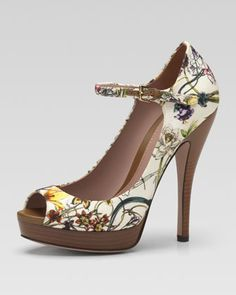 Gucci.  Floral Canvas Mary Jane Pump - Neiman Marcus.  So cute and would go with so many fun looks!