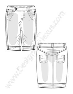 V23 Vector Fashion Flat Sketch Pencil Skirt - FREE download in Adobe Illustrator or PNG with transparent background at www.designersnexus.com!