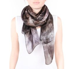 Grey Black and purple  silk scarf /  magnificent by CeliaEtcetera