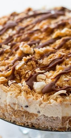A sweet samoa ice cream cake that tastes just like the real thing. Chocolate ganache, toasted coconut, and vanilla ice cream make up this easy no bake treat.