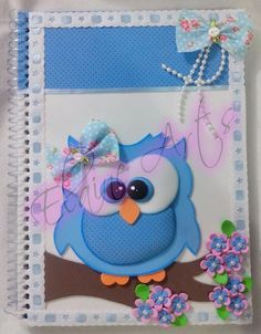 Kit Caderno Decorado Altered Composition Books, Felt Owls, Baby Shawer, Foam Crafts, Journal Covers, Digital Stamps, Applique Designs, Christmas Art, Paper Piecing