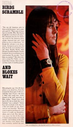 Biba birds scramble... and blokes wait. Like everything else here, this large dial watch is a Biba Exclusive. Biba: London's Mini Mecca 1967, LOOK Magazine.