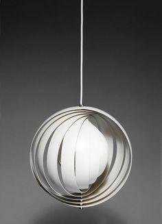 Verner Panton; Enameled and Chromed Metal 'Moon' Ceiling Light for Louis Poulsen, 1960s.